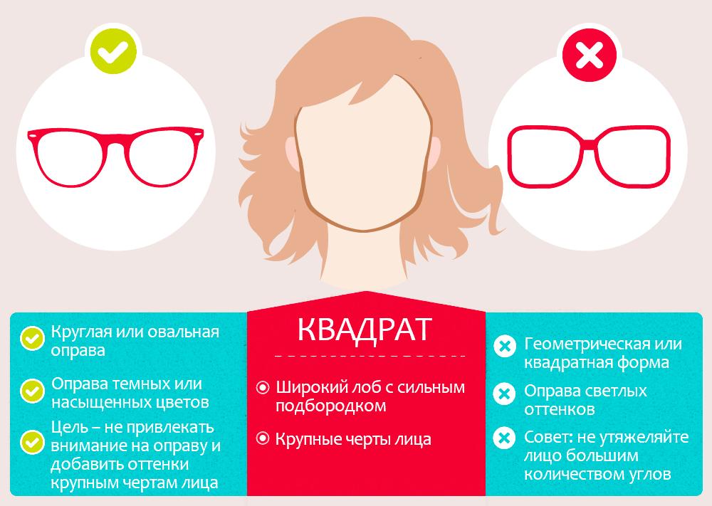 Очки по форме лица квадрат